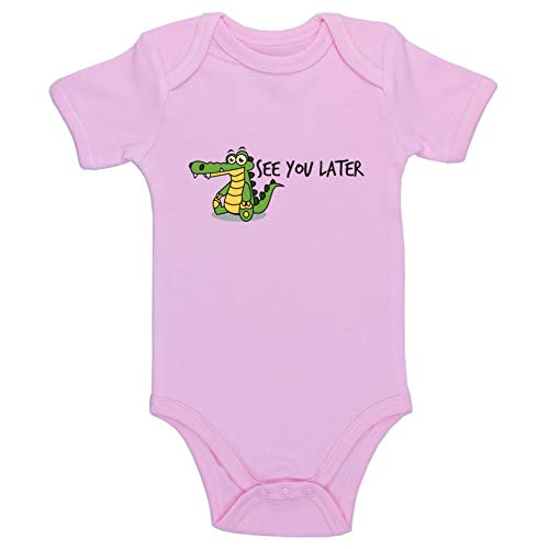 Kinacle See You Later Alligator Baby Bodysuit (3-6 Months, Pink)