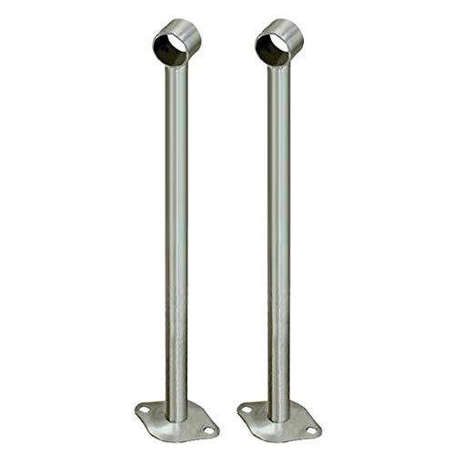 2 Stück Edelstahl Stangenhalter Deckenhalter Halterung zur Deckenmontage für Kleiderstange Vorhangstange - 450 mm
