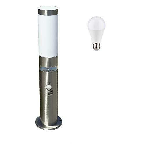 LED-Edelstahl-Außen-Sockel-Leuchte-Lampe LISA 3, H: 50 cm, D: 7,6 cm, Kunststoffglas, Bewegungsmelder, inkl. LED E27 1x5W, Grundlichtring 12x LEDs fest eingebaut, Dämmerungssensor, IP44