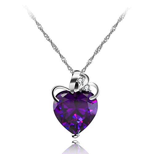 Uloveido Women Girls Heart Necklace for Mom Purple Crystal Heart Pendant Necklace for Girls Women White Gold Plated Fashion Heart Jewelry for Mom Grandma Girlfriend N437
