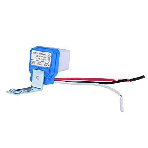 Hyuduo Interruptor de Control de luz, Interruptor automático de Encendido/Apagado automático Interruptor de luz de Calle Sensor de Control de luz para luz de Calle del hogar(12V)
