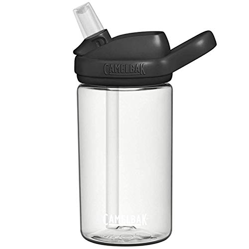 CAMELBAK Eddy+ Kids Bottle - Clear/Black, 400ml /Safe to Drink BPA Free Reusable Straw Sip Cup Boy Girl Infant Junior Children Child Water Juice Flask Eco Environmentally Friendly Plant Based Plastic