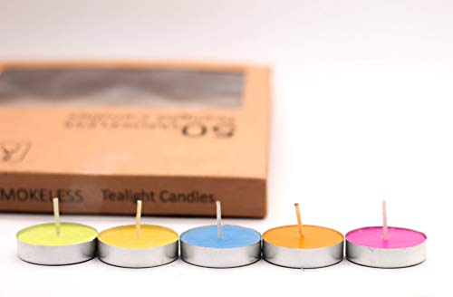 ARIJA Unscented Multicolour Tea Lights Candles Pack of 50 - Small Votive Tea Light Candles for Home, Chritsmas, Dinner Party & Decoration - Pack of 50 smokeless, Dripless Candles - 5