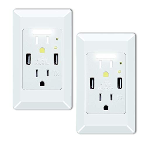 GREENCYCLE High Speed USB Charger Wall Outlet,15-Amp Duplex Receptacle,2 USB Charging Ports 4.2A and 2 Electrical AC Outlets, with Power-saving Auto Mini Nightlight and Wall Plates (White, 2 Pack)