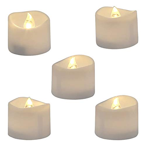 12 Flickering Battery Operated Flameless LED Tea Lights Tealight Candles, Drips, Home Decor, for Christmas Day (White)