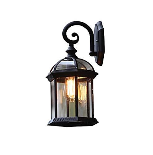 YSJ LTD VINTAGE GLASS WALL LIGHT waterdichte wandlamp van metaal lantaarn tuin buitenwandlampen één lamp met scrollende arm zwart