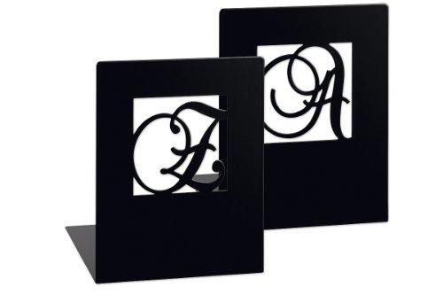 moses. Buchstützen-Set A & Z klassisch libri_x , 2er-Set Buchständer aus Metall , Zwei schwarze Metall-Buchstützen im Set mit wunderschön ausgestanzten Buchstaben