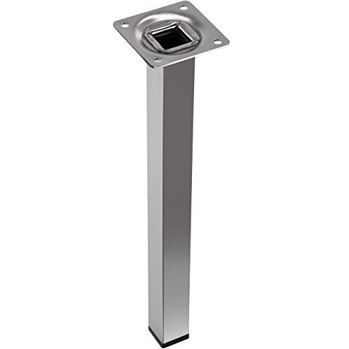 Gedotec Möbelfuss Chrom 150 mm Schrankfuß Tischbein mit schwarzem Kunststoffgleiter - H3917 | Stahlrohr-Füße Metall massiv | Sockelfüße verchromt poliert | 1 Stück - Stützfuß mit Anschraubplatte