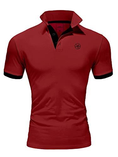 Amaci&Sons Herren Poloshirt Basic Kontrast Stickerei Kurzarm Polohemd T-Shirt 5103 Bordeaux/Schwarz L