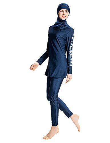 Zhhlinyuan Maillot de Bain Modeste pour Musulman Femmes - Couverture Complète Maillot de Bain Islamique Hijab Swimwear Beachwear 3 pièces Burkini