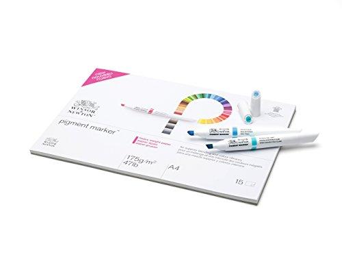 Winsor & Newton - Papel para Pigment Marker - Bloc papel engomado 1 lado A4, 15 hojas, 175g