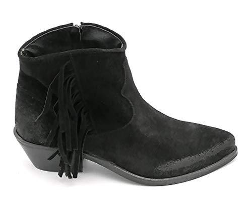 Giada 925 enkellaarsjes van suède, zwart, met ritssluiting, hak: 5 cm, maat: schoenmaat 37 EU, kleur: zwart