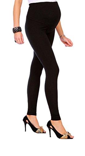 FUTURO FASHION® - Schwangerschaftsleggings - knöchellang - sehr warm & dick - aus Baumwolle - Fleece innen - bequem - Größe 36-50 - Schwarz - 42