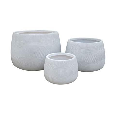 Vasi per Piante Rotondi da Interno Ed Esterno Set da 3 Dimensioni Moderni Vaso di Design in Resina Colore Taupe, G.55 X 55 X 37/M.42 X 42 X 29/P.29 X 29 X 20