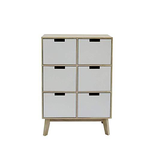 Rebecca Mobili ladekast 6 lades licht wit hout ontwerp moderne woonkamer kinderkamer - 82 x 57 x 30 cm (H x B x D) - kunst. RE6191