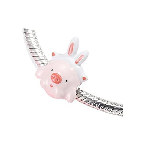 LISHOU Original Pandora Girl S925 Cuentas De Plata Esterlina Creative Cute Dress Up Pig Series Accesorios De Pulsera con Cuentas Perlas Sueltas DIY Mujer Fabricación De Joyas