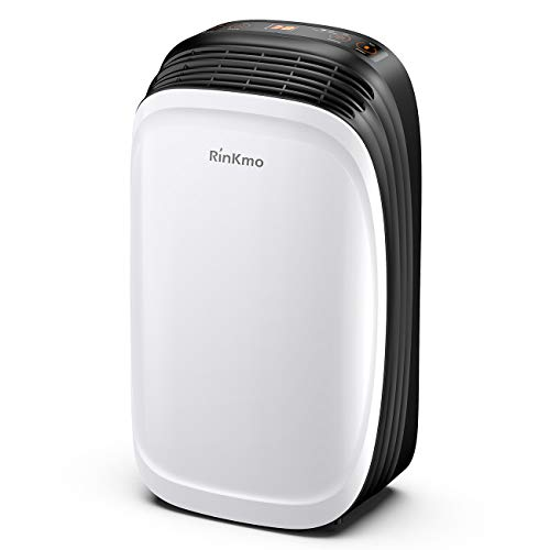 Rinkmo 30 Pint Dehumidifier for Home Basements Bedroom Garage, Safe Mid Size Portable Dehumidifiers for Medium Spaces up to 1050 Sq Ft with Continuous Drain Hose Outlet to Reduce Moisture
