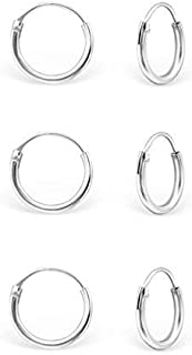 9e99be3c5 DTPSilver - 925 Sterling Silver Tiny Hoops Earrings - Set of 3 Pairs  -Thickness 1.2