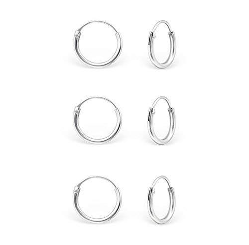 DTPsilver - Damen - Klein Creolen - 3 Paare Ohrringe 925 Sterling Silber - Dicke 1.2 mm - Durchmesser 10 mm