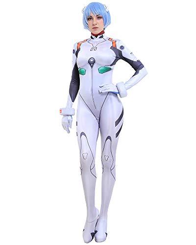 Miccostumes 女性 EVA 綾波 レイ コスプレ 衣装 白い ボディスーツ プラグスーツ (L)