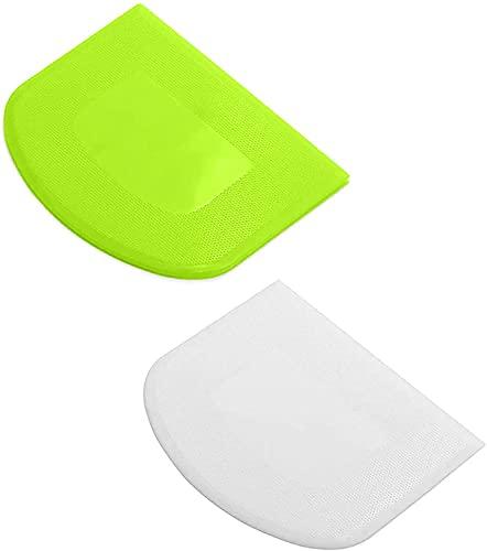 2 PCS Tarocco Plastica Spatola Tagliapasta - Tagliapasta Raschietti per Impasto per tagliare l'impasto, Torta, Pizza,Taglio del Pane,Pasticeria e altri prodotti da forno (Green + White)