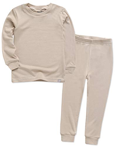 VAENAIT BABY Kids Long Sleeve Modal Sleepwear Pajamas 2pcs Set Modal Beige S