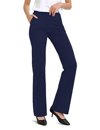 Safort Regular/Tall Bootcut Yoga Hose mit 71cm/76cm/81cm/86cm Schrittlänge, Dressy, Zwei Taschen, Blau, XXL