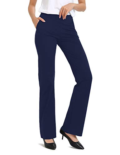 Safort Regular/Tall Bootcut Yoga Hose mit 71cm/76cm/81cm/86cm Schrittlänge, Dressy, Zwei Taschen, Blau, S
