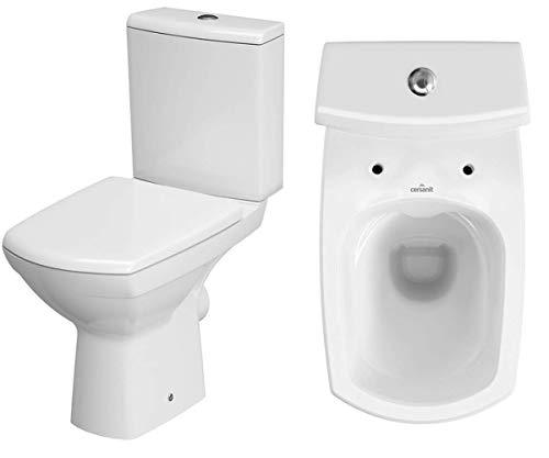 VBChome Keramik Stand WC Toilette Komplett Set Keramik WC- Sitz aus Duroplast mit Absenkautomatik SoftClose-Funktion für waagerechten Abgang Wasseranschluss Spülrandlos Modern
