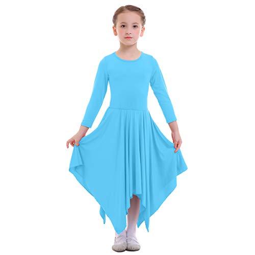 FYMNSI Bambina Liturgico Danza Vestito Ragazze Orlo Irregolare Manica Lunga Casuale Tinta Unita Swing Lungo Maxi Gonna Lirico Culto Costume Tunica Abbigliamento da Ballo Balletto Blu 11-12 Anni