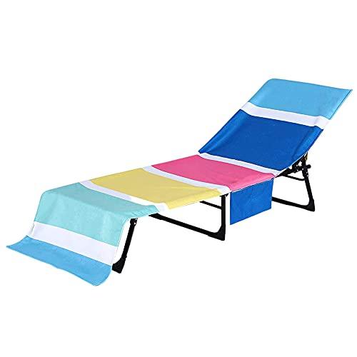 Silla de playa Tumbona toalla de la piscina cubierta de microfibra Chaise playa Bolsillos Cubiertas de tumbona con bolsillos laterales Patio Tumbona cubierta de la piscina al aire libre Calesa
