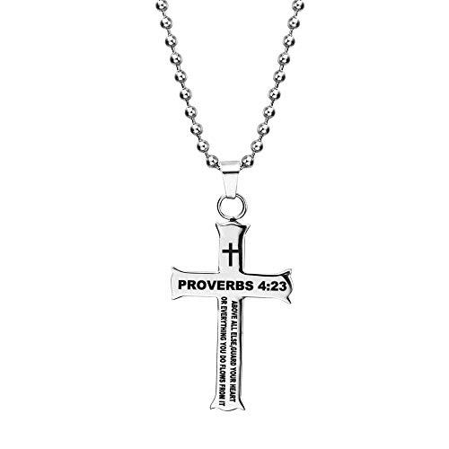 COMTRUDE Colar com versículo da Bíblia cristã, cruz de aço inoxidável com pingente de fé inspirador, joia para presente masculino