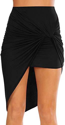 Sexy Mini Skirts for Women Bodycon High Waisted Boho High Low Pencil Summer Skirt. Beach,Office,Clubwear,Date Nightout (Size XX-Large, Black)