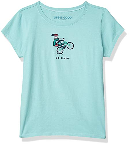 Life Is Good T-Shirt Vintage pour Filles avec Inscription « Go Places Jackie » M Jackie Bermuda Bleu