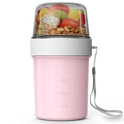 Abree Müslibecher To go Becher 560ml+310ml Praktischer Müslibecher,Joghurtbecher,Lunchbox für Gefrierschränke Mikrowelle und Geschirrspüler (Rosa)