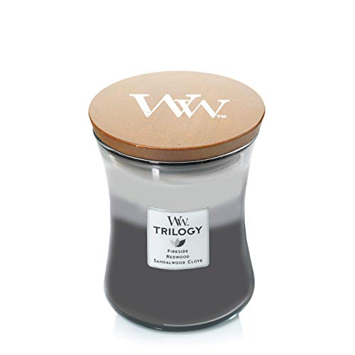Middelgrote WoodWick Trilogy-geurkaars in zandloper glas met Pluswick-innovatie, Warm Woods