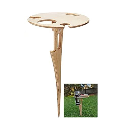 Mesa de vino plegable portátil al aire libre, mesa de picnic al aire libre, mesa de madera para patios, para jardín, playa, viajes