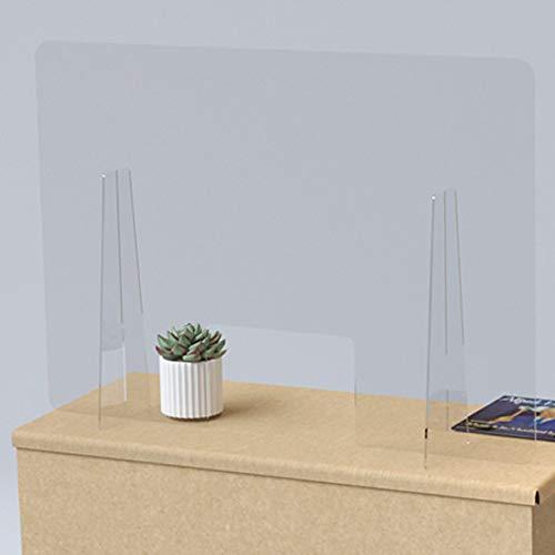 Mampara de mostrador de protección transparente en metacrilato 100x70 cm. Con ventana central de 30x20 cm.