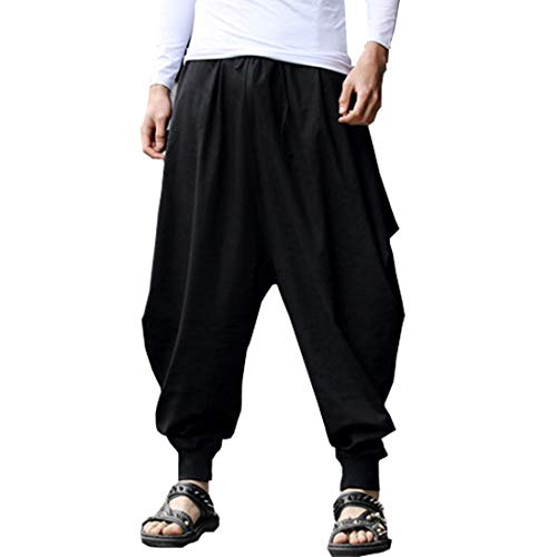 BITLIVE Mens Boho Hippie Baggy Cotton Harem Pants with Pockets (Black)