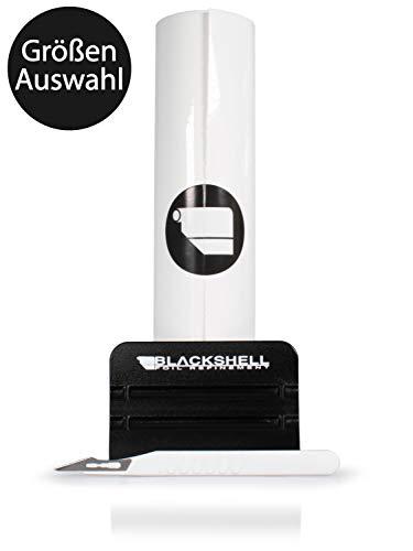 Blackshell® Universal Lackschutzfolie transparent 12cm x 100cm Selbstklebende Folie, Schutzfolie für Ihr Auto, Motorrad, Fahrrad inkl. Premium Rakel und Skalpell