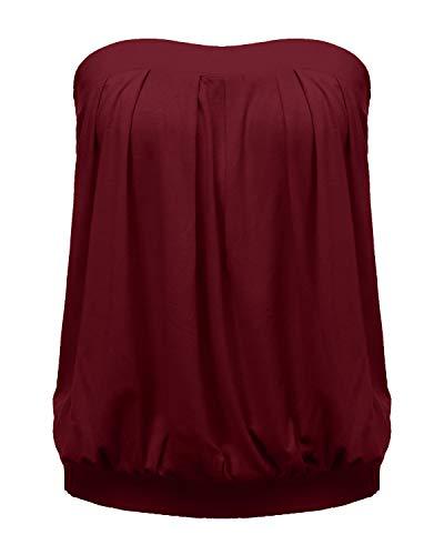 ZANZEA Mujer Camisetas Sin Tirantes Verano Sexy Tube Top Sin Mangas Blusa Playa Strapless Plisado Fruncido 01-Vino Rojo 2XL