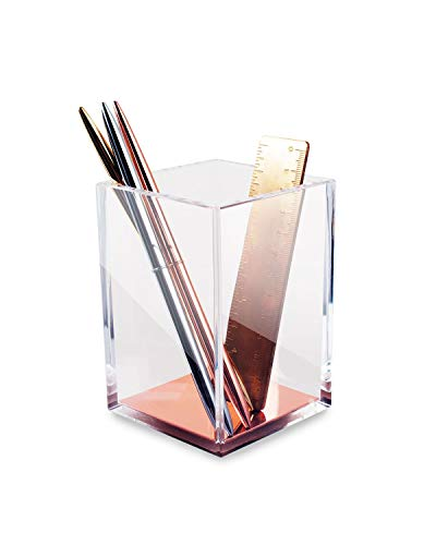 Zodaca [Deluxe Acrylic Square Pen Holder Pencil Cup Desktop Stationery Organizer, Clear/Rose Gold