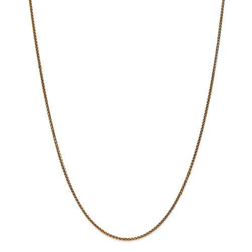 Collar de cadena de espiga de oro de 14 quilates de 1,4 mm con corte brillante, regalo para mujer, 66 cm