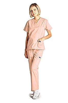 Dagacci Medical Scrubs Uniform Women and Man Scrubs Set Scrubs Medical Top and Pants (Peach, X-Large)