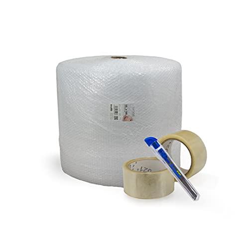 Sumicel - Pack Mudanza con rollo de plástico de burbujas de 50 cm de ancho y 100 metros de longitud (Pack 1)