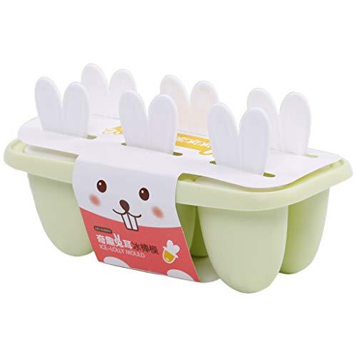Manyao Moulle à Glace Enfant, Moulle à Glace PP- 6 Popsicles, Bac a Glacons Moule Glace Moules DIY Réutilisable sans BPA Idéal pour Adultes Bébé, Lapin-Rose