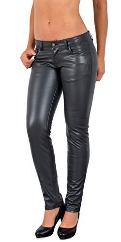 ESRA Damen Lederhose Damen Hose tiefer Bund in Leder Optik Straight-Fit Hüfthose für Frauen H12
