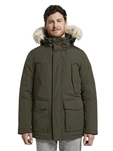 TOM TAILOR Herren Padded Winter Jacke, Grün (Dark Rosin Green 11172), (Herstellergröße: XX-Large)