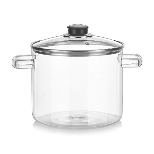 First-Class Materials, Exquisite Workmanship, Wort Household 2000ml Capacity Transparent Glass Soup Pot Kitchen Heat-Resistant Porridge Pot Home Glass Bowl Kitchen Cooking Tools