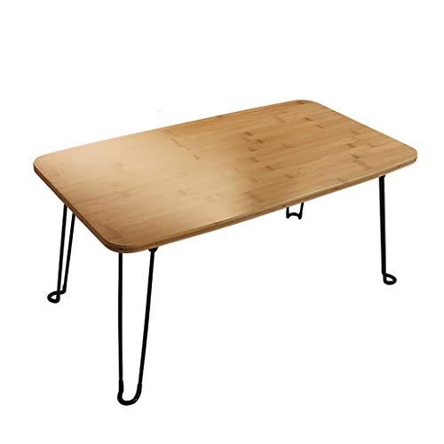 Mesa plegable portátil, mesa de ordenador (bambú + metal), mesa de comedor, estudio, mesa auxiliar de sofá, para el hogar, dormitorio, exterior (tamaño: 120 x 60 x 33 cm)